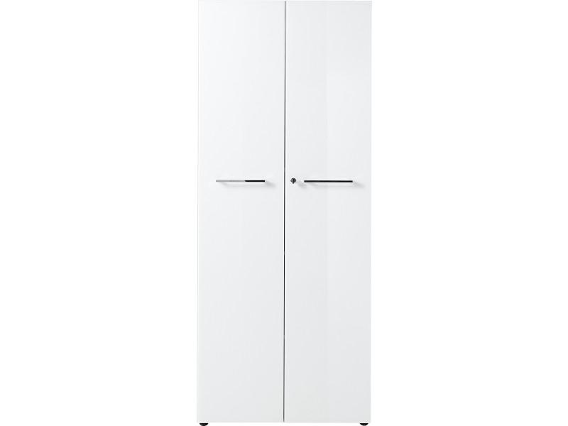 Armoire haute coloris blanc avec 2 portes - dim : 80 x 196 x 37 cm -pegane-