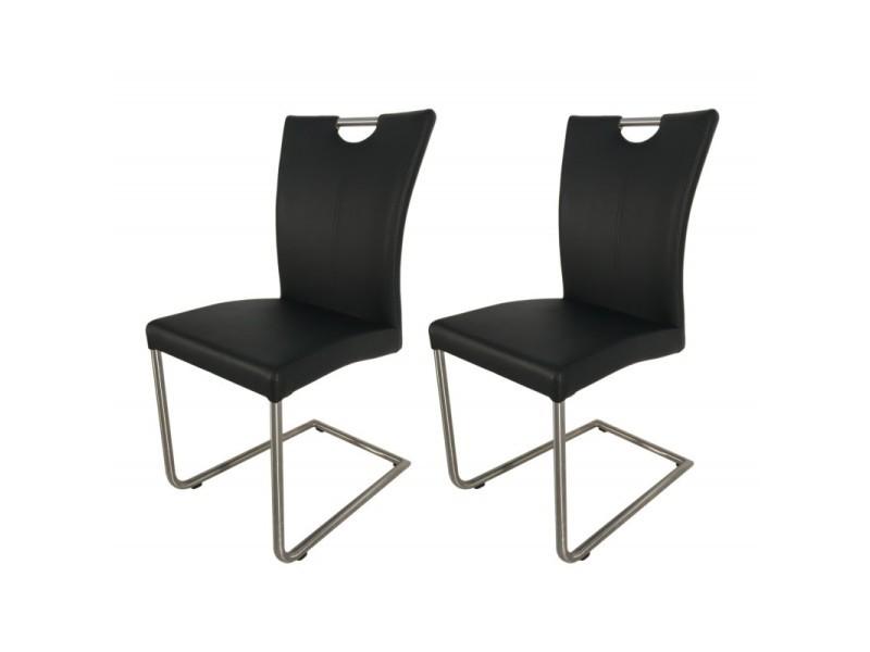 Lot 2 chaises design noires en simili cuir - adriana