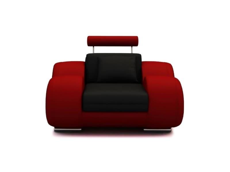 Dydda - fauteuil relax en cuir noir et rouge