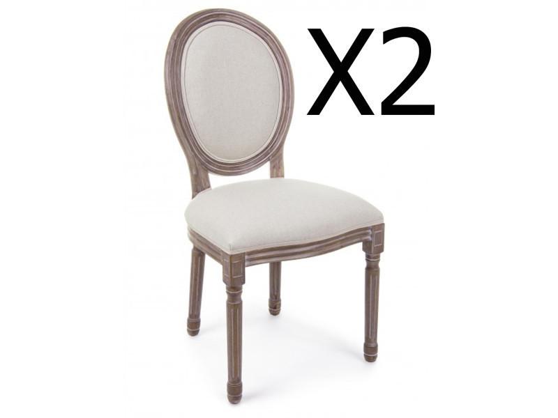 Lot de 2 chaises en bois de bouleau coloris naturel - dim : l 48 x p 46 x h 96 cm -pegane