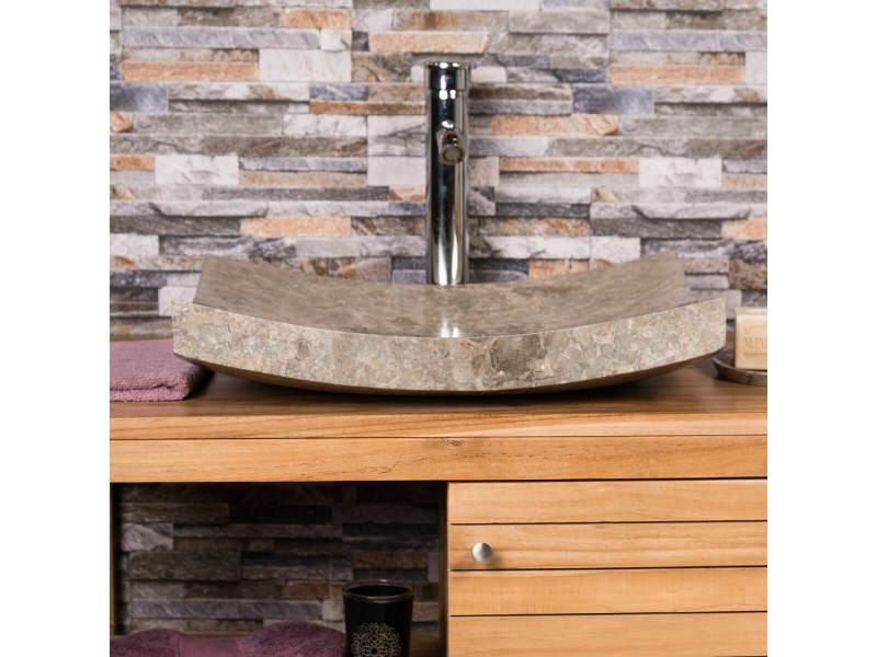 grande vasque grise 50cm poser rectangle en marbre genes poli - Grande Vasque A Poser