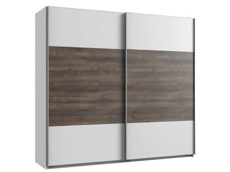 Armoire eva portes coulissantes largeur 180 blanc / chêne châtaigne 20100889707