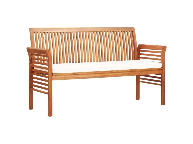 Inedit sièges de jardin selection athènes banc de jardin 3 places avec coussin 150cm bois d'acacia massif