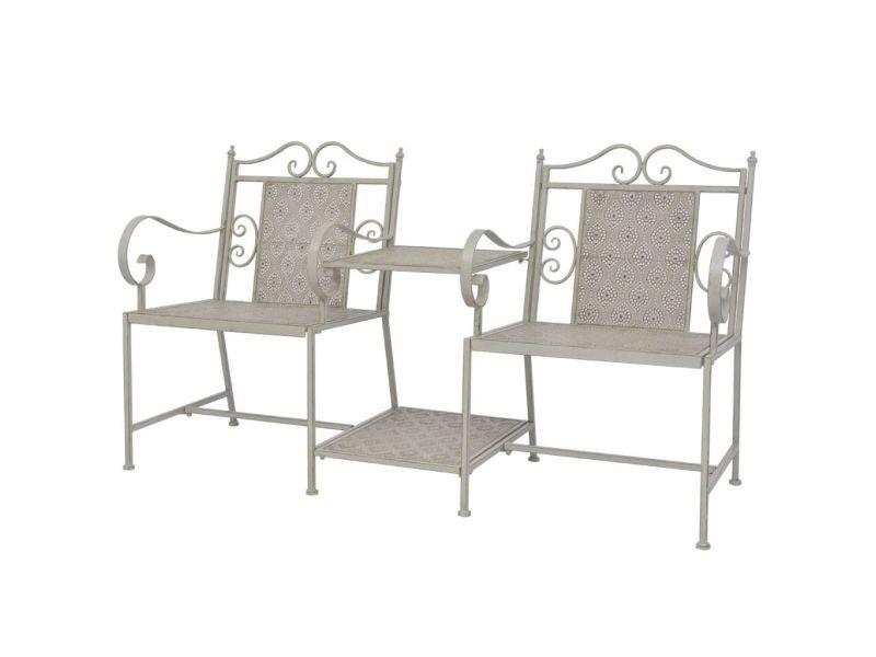 Stylé sièges d'extérieur ensemble n'djaména causeuse de jardin en acier gris