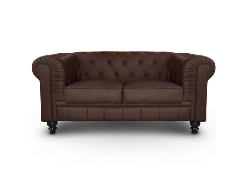 canap 2 places chesterfield marron vente de menzzo conforama. Black Bedroom Furniture Sets. Home Design Ideas