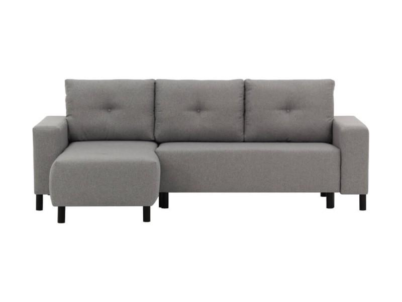 Canapé d'angle lara convertible et réversible en tissu - couleur - gris clair