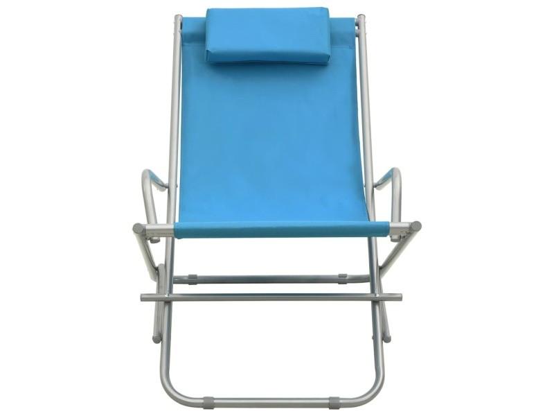 Vidaxl chaises à bascule 2 pcs acier bleu 310340