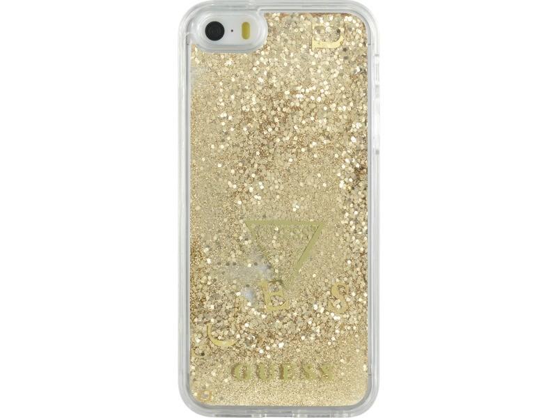 Coque rigide liquide avec paillettes dorées guess pour iphone 5/5s/se