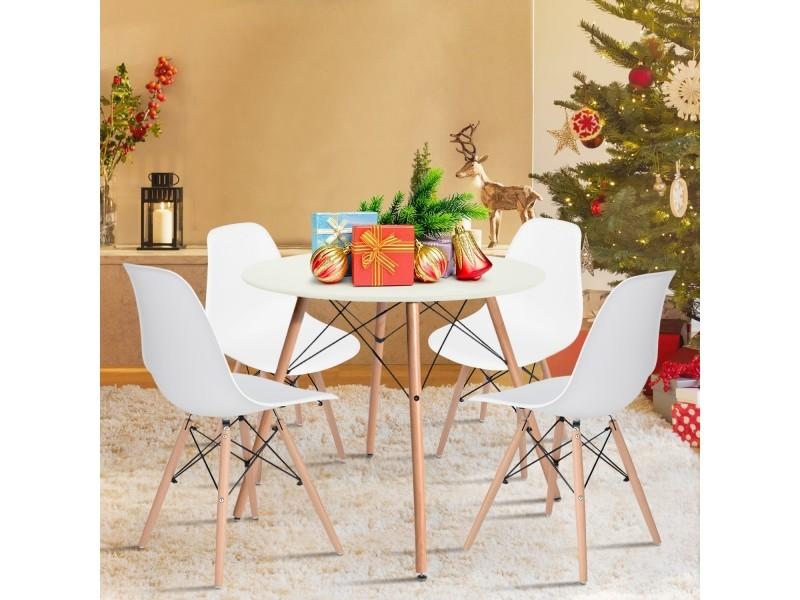 Ensemble table chaises 4 places scandinave table et chaise blanche plastique bois