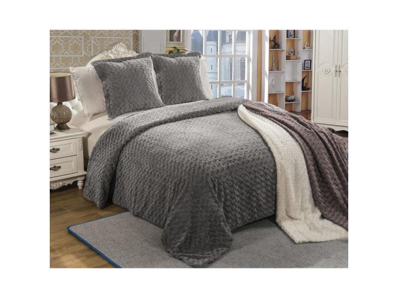 ensemble couvre lit et 2 taies d 39 oreiller furre gris dimensions 220x240cm vente de best. Black Bedroom Furniture Sets. Home Design Ideas