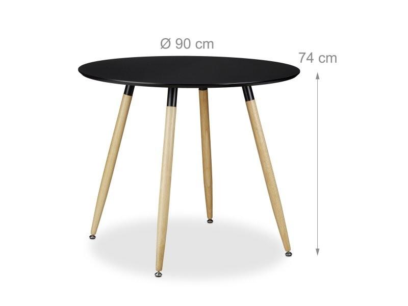 Table à manger ronde en bois noir style scandinave 90 cm de diamètre helloshop26 0913008