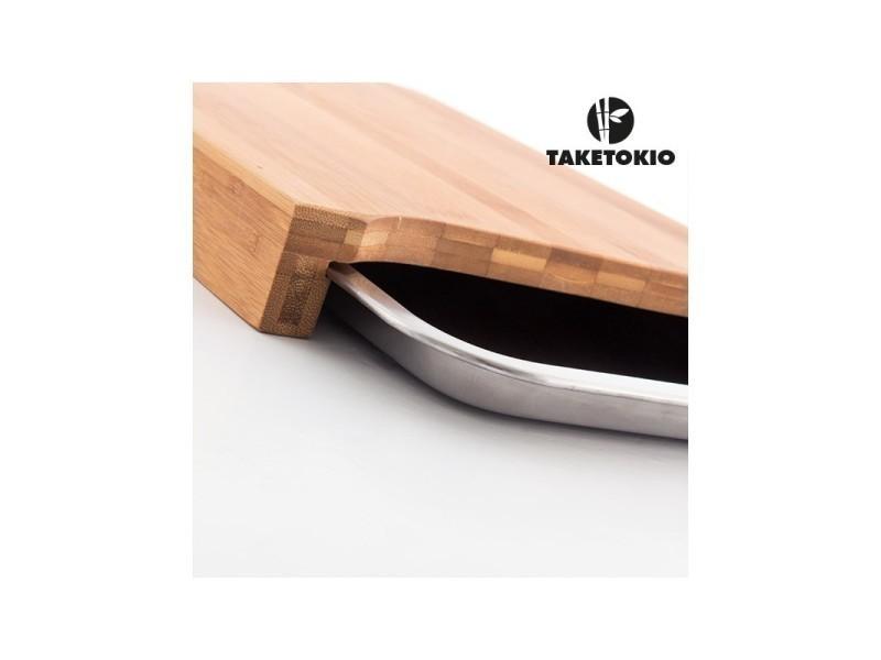Planche à découper en bambou taketokio avec plateau
