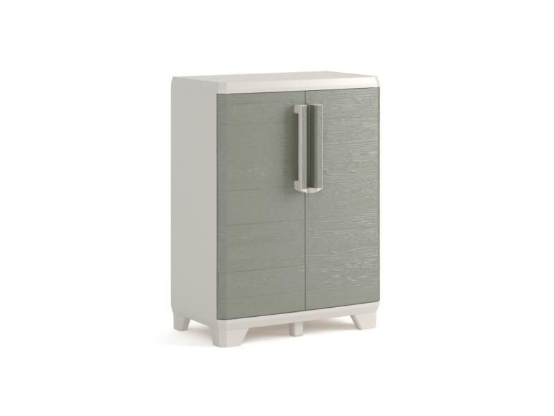 Armoire basse de rangement - wood grain - texture bois - 2 portes - - pieds ajustables - verouillable - gris KET8013183107925