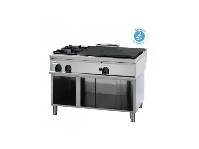 Plaque de cuisson - top 2 feux vifs gaz et plaque coup de feu à poser - gamme 900 - tecnoinox -