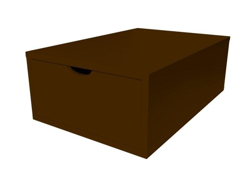 Cube de rangement bois 75x50 cm + tiroir wengé CUBE75T-W