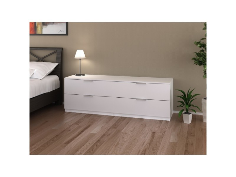 commode 4 tiroirs blanche 160 cm arada l 160 x l 41 4 x h 52 5 vente de commode conforama. Black Bedroom Furniture Sets. Home Design Ideas