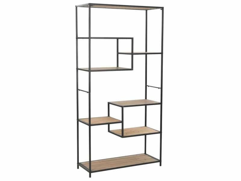 Étagère armoire meuble design bibliothèque bois de sapin massif et acier 180 cm helloshop26 2702055/2