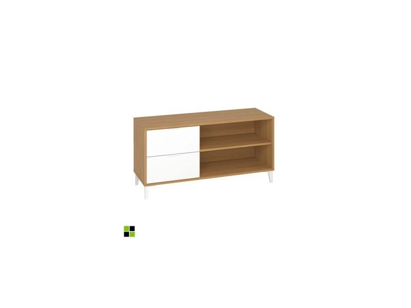 Momma home - meuble de tv avec 2 tiroirs et 2 casiers en mdf finition couleur chêne clair et blanc. MOMMA HOME