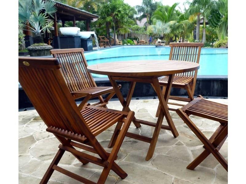 Salon de jardin table ronde 100 cm 4 chaises peignes - Vente ...