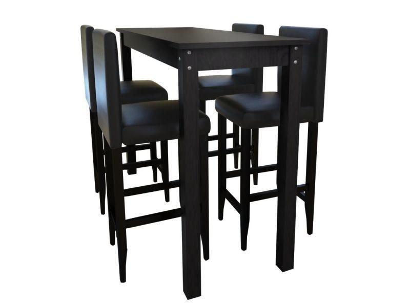 Vidaxl set de 1 table bar et 4 tabourets noir vente de - Table bar cuisine conforama ...