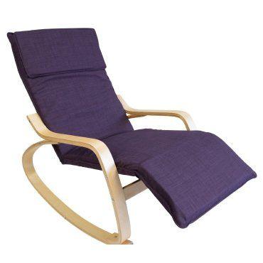 fauteuil bascule relaxation en bois clair coussin violet fab06010 conforama. Black Bedroom Furniture Sets. Home Design Ideas