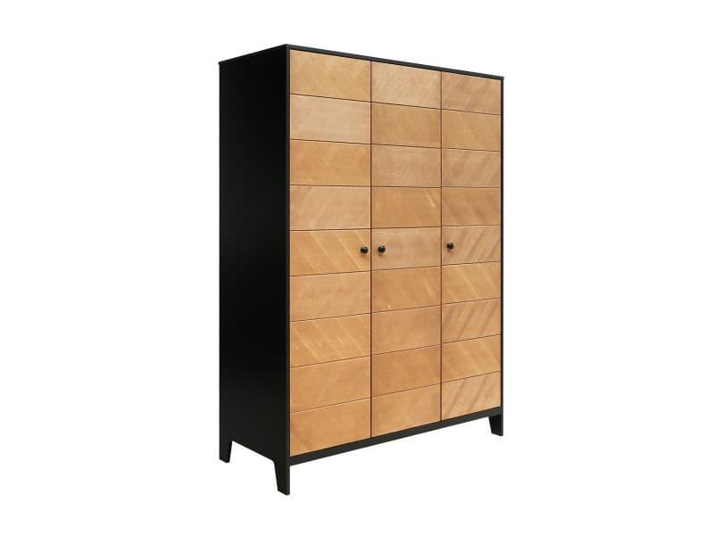 Armoire 3 portes job - noir et bois naturel