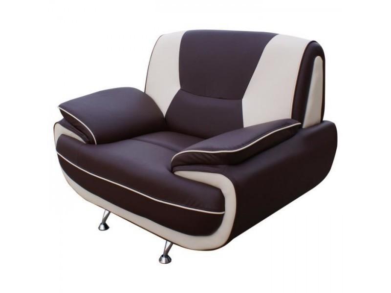 Spacio fauteuil - simili chocolat et beige - contemporain - l 134 x p 86 cm