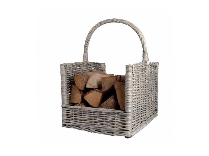 Porte bûches panier à bois gris