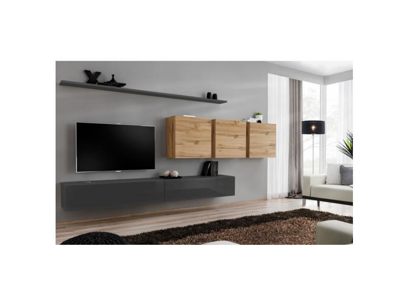 Ensemble mural - switch vii - 3 vitrines carrées - 2 bancs tv - 2 étagères - bois et graphite - modèle 2
