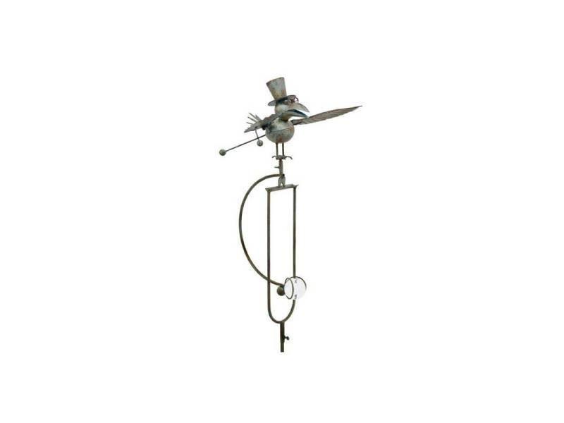 Mobile de jardin à balancier à planter ou tuteur pour plantes motifs corbeau en fer et verre patiné vert 154x48x33cm