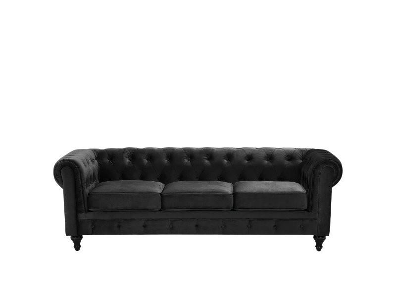 Canapé 3 places en velours noir chesterfield 99530