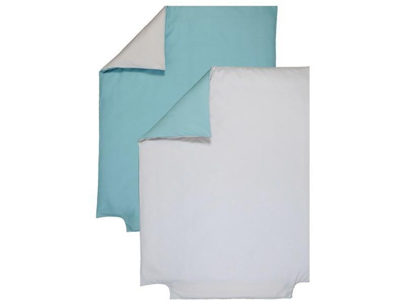 Housse de couette bicolore p'tit basile 120x150 cm gris perle/turquoise