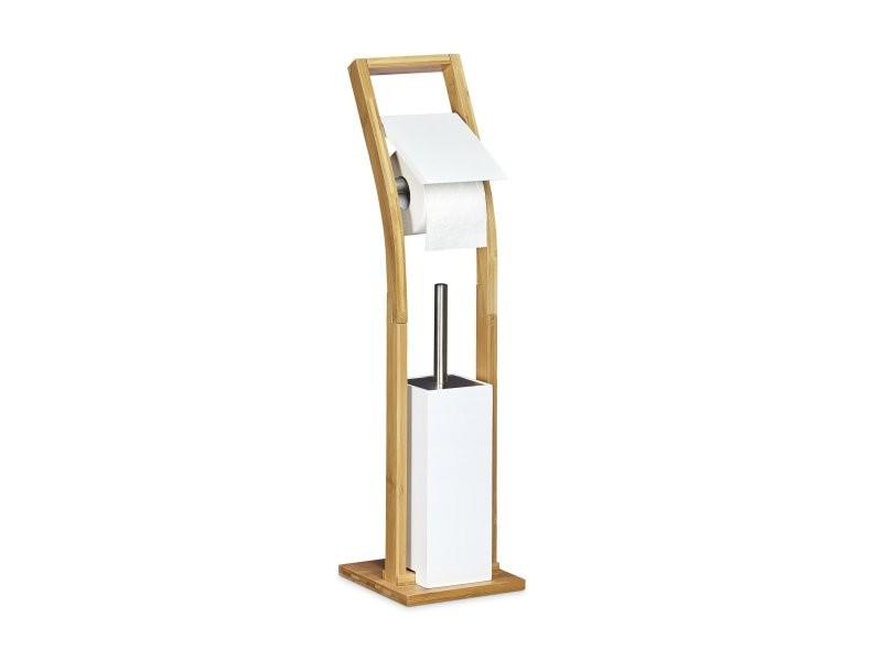 Ensemble Porte Brosse Wc Et Distributeur Papier Toilettes Bambou