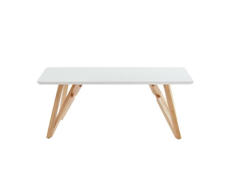 Table Basse Lulea Table Basse Scandinave Blanc Laque Brillant