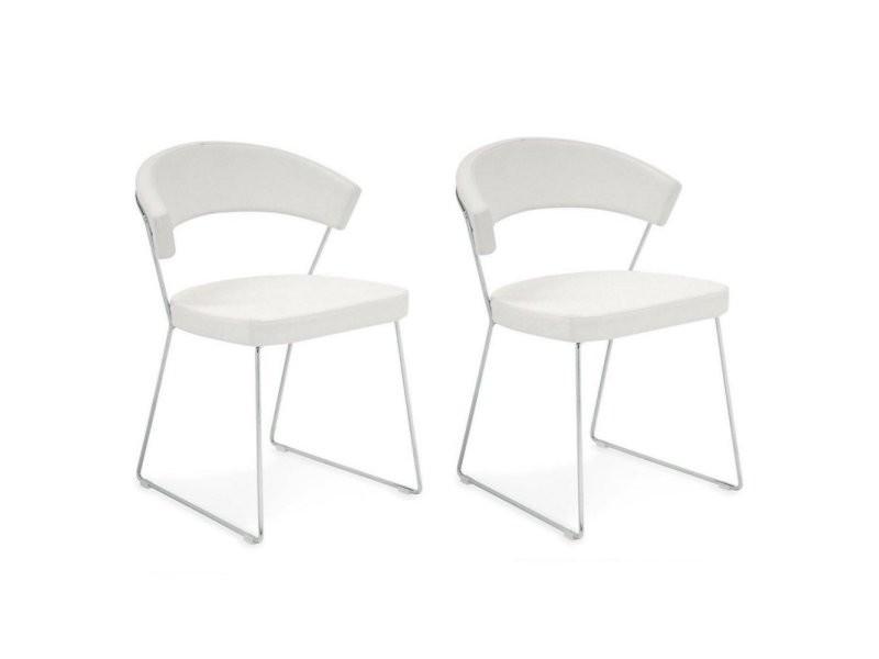 Lot de 2 chaises new york design italienne structure acier chromé assise cuir blanc 20100881145
