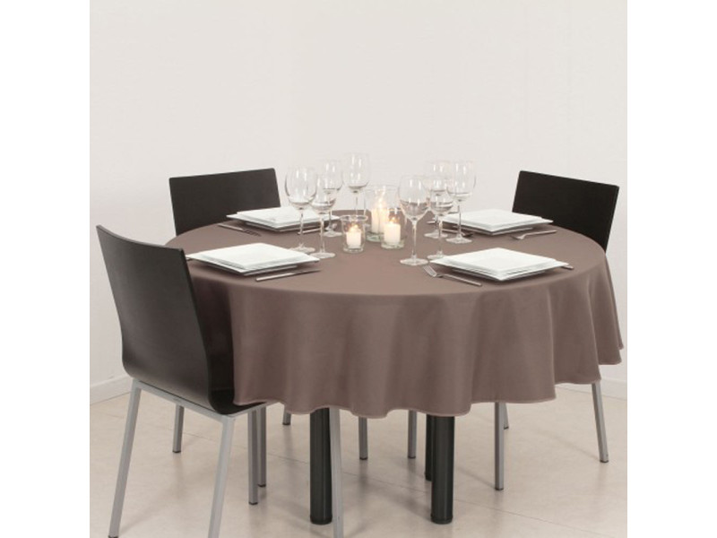 Nappe anti-tâches ronde taupe, d180 cm -pegane-
