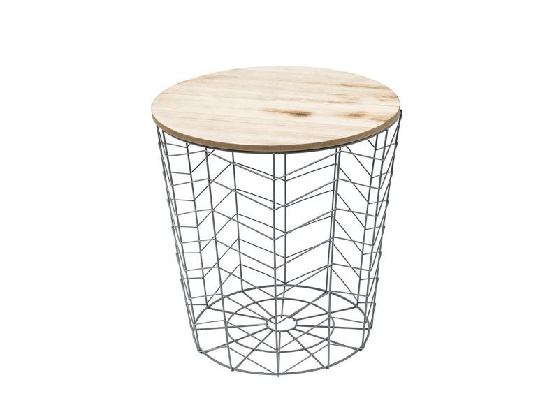 Table filaire bois et métal gris motif chevron