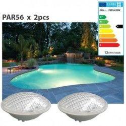 Lot de 2 ampoules de piscine type par56 blanc à led