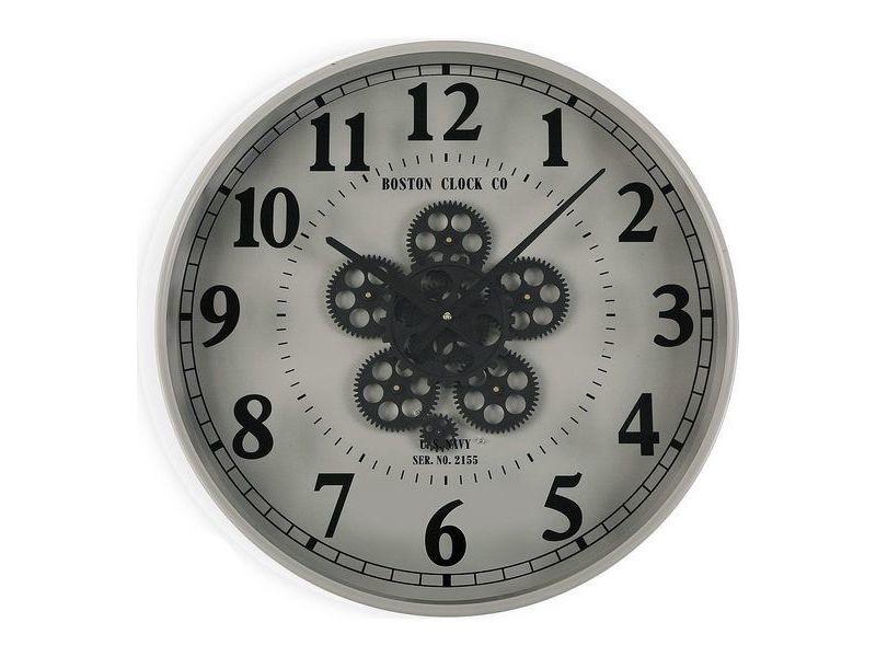Horloges murales et de table esthetique horloge murale métal bois mdf/verre (6,5 x 50 x 50 cm)