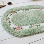 Tapis de bain moderne àmotif floral vert