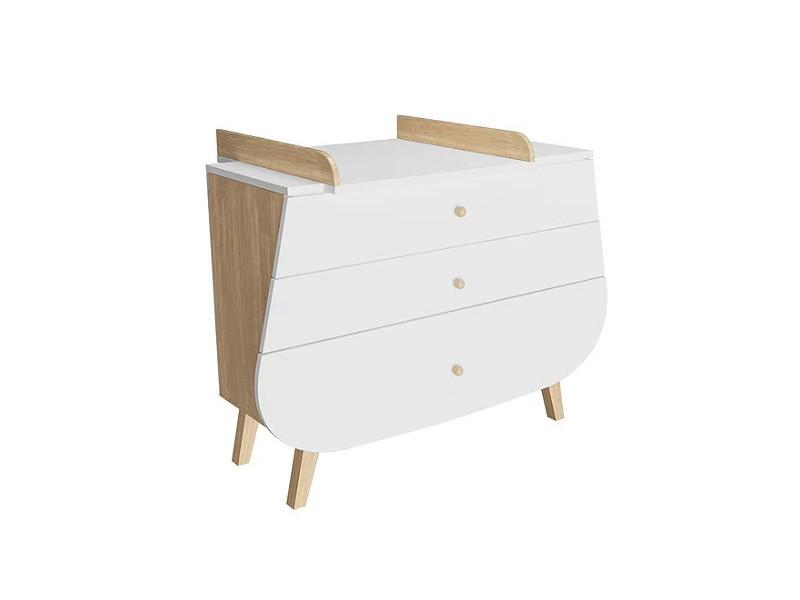 Commode avec plan à langer trapèze - blanc et bois
