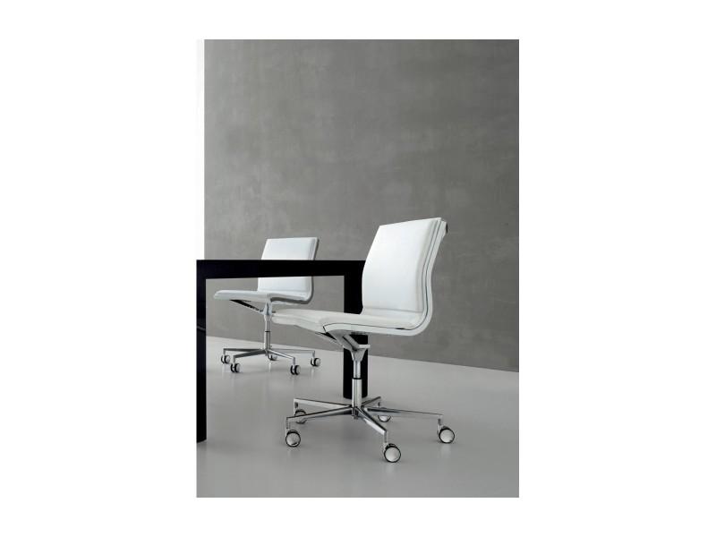 chaise de bureau howie sans accoudoirs en cuir blanc vente de seanroyale conforama. Black Bedroom Furniture Sets. Home Design Ideas