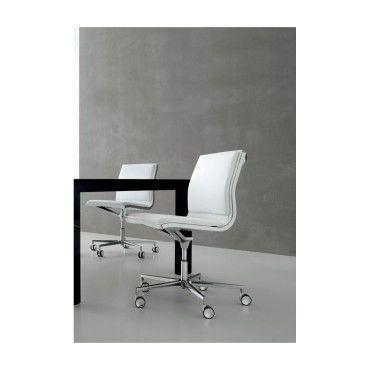 Chaise de bureau howie sans accoudoirs en cuir blanc for Chaise cuir blanc conforama