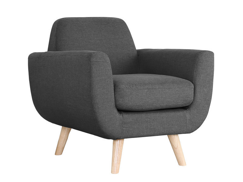 fauteuil scandinave volga tissu gris conforama. Black Bedroom Furniture Sets. Home Design Ideas