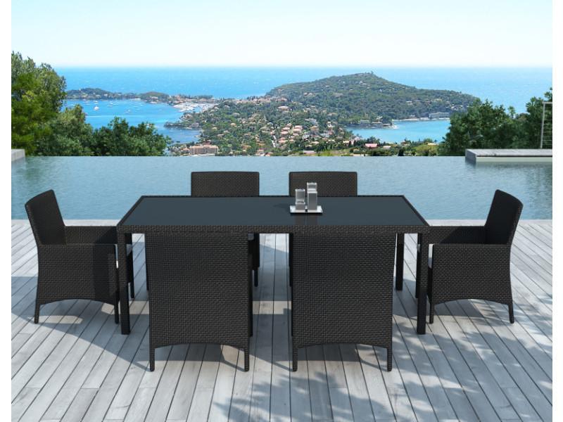 Table Et Chaise De Jardin 6 Personnes En Resine Tressee Noire