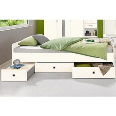 lit multi fonction dory blanc avec chevet int gr. Black Bedroom Furniture Sets. Home Design Ideas