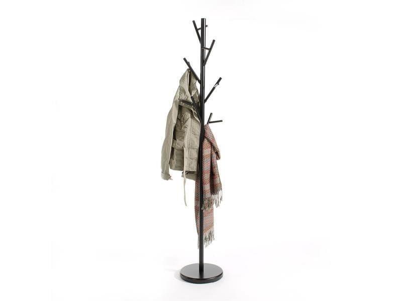 Porte-manteaux zeno portant à vêtements sur pied en forme d'arbre avec 6 crochets sur différentes hauteurs, en métal laqué noir