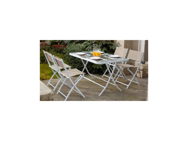table de jardin et 4 chaises pliantes en acier et verre. Black Bedroom Furniture Sets. Home Design Ideas