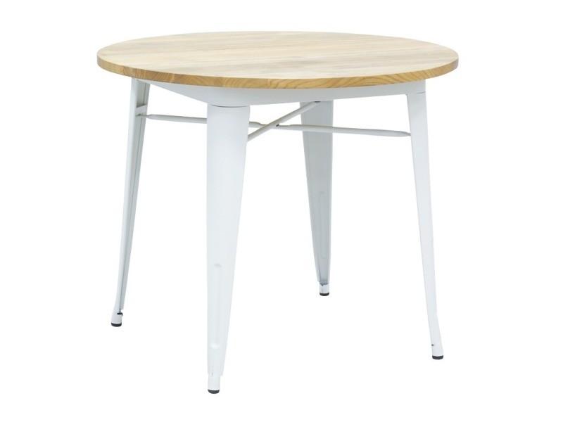 Table ronde industrielle en métal blanc et bois d'orme huilé