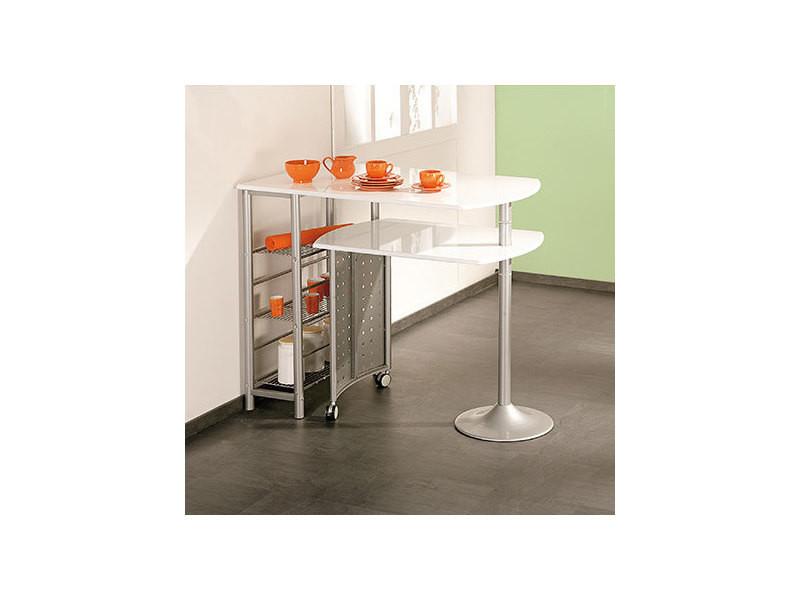 Table bar 114/183x70x78/100 cm en blanc et métal